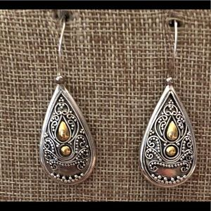 Sterling Silver 925 Gold insert Teardrop Earrings